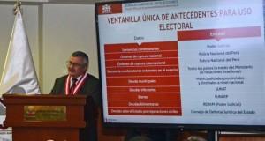 El presidente del JNE, Francisco Távara Córdova, subrayó que la Ventanilla Única debe ser utilizada por las organizaciones políticas para una mejor selección de sus candidatos.