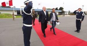 El presidente Ollanta Humala fue despedido en el Grupo Aéreo Nº 8 por el jefe del Gabinete Ministerial, Pedro Cateriano.