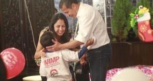 El presidente Ollanta Humala y su esposa Nadine Heredia, durante el compartir con los niños en Palacio de Gobierno.