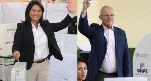 Los candidatos Keiko Fujimori y Pedro Pablo Kuczynski cumplieron con su deber democrático y sufragaron en sus respectivos centros de votación.