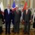 El presidente Pedro Pablo Kuczynski acompañado del ministro de Relaciones Exteriores, Ricardo Luna Mendoza, en foto oficial con los nuevos embajadores concurrentes en el Perú de Brunéi, Islandia y Nueva Zelandia.