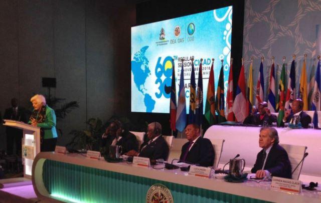 La presidenta ejecutiva de Devida, Carmen Masías, participa en el 60º Periodo de Sesiones de la Comisión Interamericana para el Control del Abuso de Drogas, que se realiza en Nassau, Las Bahamas.