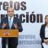 El primer ministro Fernando Zavala Lombardi, acompañado de la ministra de Justicia y Derechos Humanos, Marisol Pérez Tello, anunció medidas para la lucha contra la corrupción, tras culminar el último Consejo de Ministros del año.