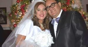 Los peruanos Yeni Pajuelo y Erick Callalli en el día de su casamiento.
