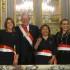 El presidente Pedro Pablo Kuczynski con las tres integrantes de su renovado Gabinete Ministerial: Cayetana Aljovín, Ana María Choquehuanca y Fiorella Molinelli.