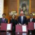 El presidente Pedro Pablo Kuczynski y la ministra de Educación Marilú Martens, tras la firma del convenio con los gobernadores regionales Ángel Unchupaico (Junín) y Rubén Alva (Huánuco), para la aplicación de este nuevo modelo educativo.