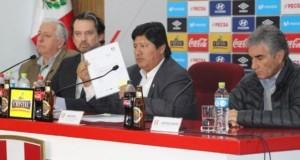 El presidente de la Federación Peruana de Fútbol, Edwin Oviedo, confirmó al Estadio Monumental de la U como sede del partido entre Perú y Bolivia, este 31 de agosto.